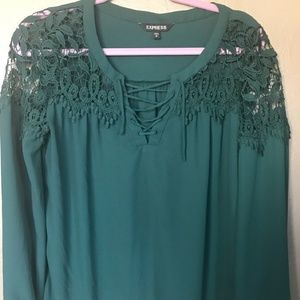 Express Teal Colored Crochet Lace Up Work Blouse